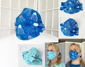 Blue Fish Face Mask Jellyfish Ocean Mask Adult-sized 100% Cotton Fabric Washable Reusable Aqua Blue Happy Fish Colorful Beach