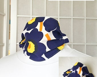 "Marimekko Face Mask Navy Blue Poppy Fabric ""Unikko"" 100% cotton Designer Scandinavian Washable Reversible Reusable Flower Floral Fabric Mask"