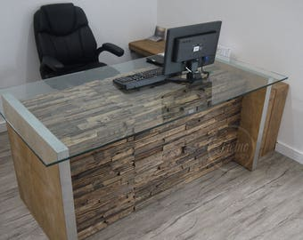 Modern Rustic Office Desk Computer Reclaimed Rail Wood Furniture And Glass