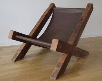 reclaimed wood and leather lounge chair arm chair handmade