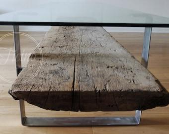 Beau Reclaimed Wood Coffee Table Base. Fly Wheel. Glass End Table ...
