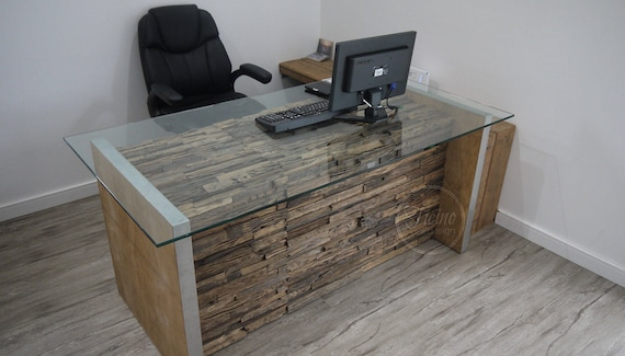 Bureau informatique moderne. rustique desk.glass ordinateur etsy