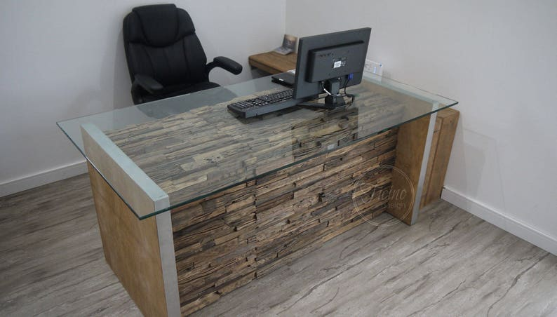 Bureau informatique moderne rustique desk glass ordinateur etsy