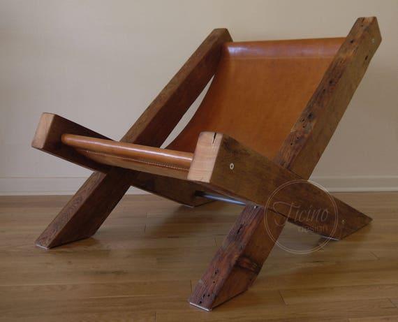Geregenereerde houten stoel. leren lounge stoel. arm stoel. etsy