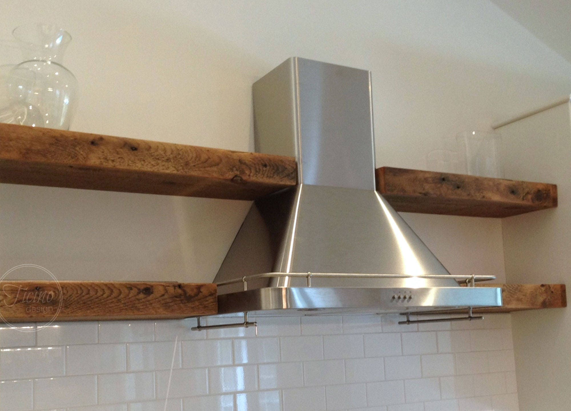 Reclaimed Wood And Metal Wall Shelves: Reclaimed Wood And Metal Floating Shelf. Modern Rustic