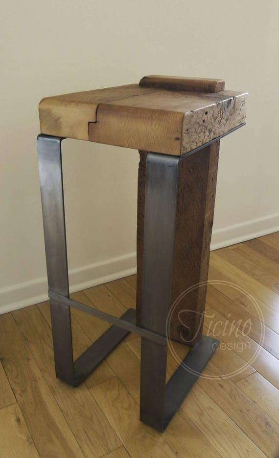 tabouret de bar rustique partir de bois r cup r et tabouret etsy. Black Bedroom Furniture Sets. Home Design Ideas