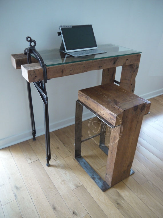 Laptop Desk. Rustic Computer Desk, Interior Design, Glass Laptop Stand,  Small Table, Office Furniture, Wood Laptop Table, Wooden Desk.
