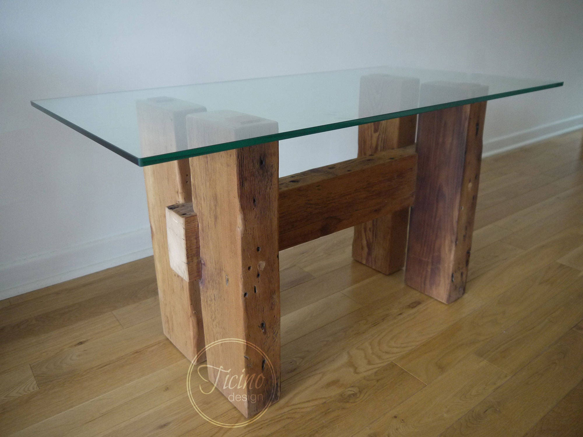 Side Table Reclaimed Wood Table End Table Glass Top Table Etsy