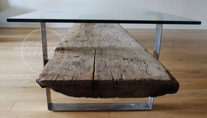 Glass Coffee Table. Rustic Coffee Table. Reclaimed Wood Coffee image 0