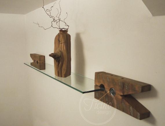Glazen Muur Plank.Rustieke Plank Haakjes Teruggewonnen Hout Haken Glazen Wand Plank Boekenplank Planken Haken Rustiek Decor Houten Haken Display Plank