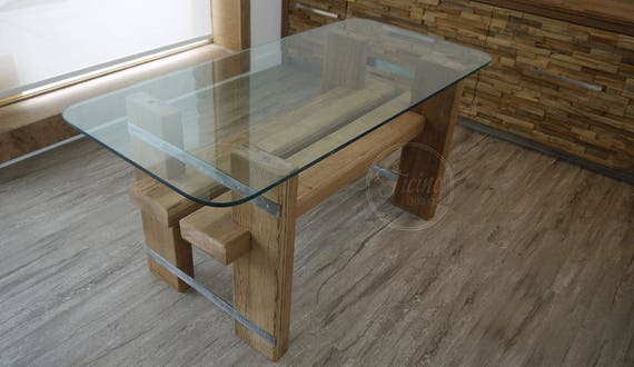 Reclaimed Wood Dining Table. Glass Top Dinning Table. Reclaimed Wood  Furniture. Modern Table. Rustic Table. Breakfast Table. Kitchen Table.
