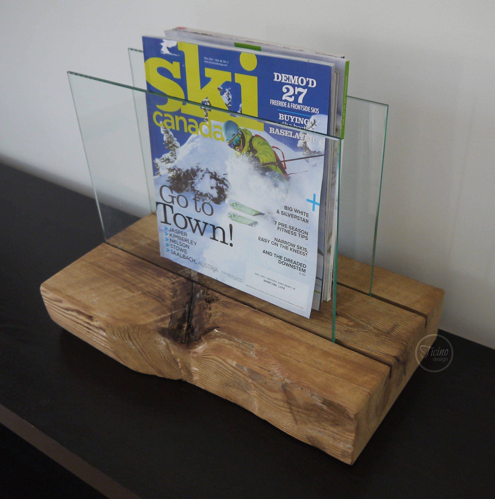 Magazin Rack.Modern rustikale Magazinhalter. Altholz und Glas | Etsy