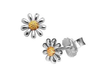 Silver Mini Daisy Earrings, with 18ct Gold Plating to the Centres,  7mm