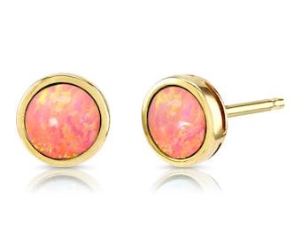 Ohrstecker NEU Ohrringe gold weiß hell Lachs rosa kreise Vintage Nickel Frei