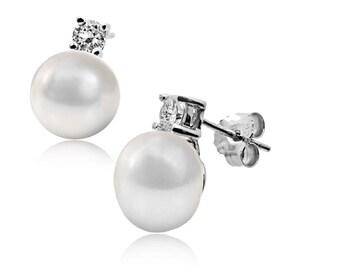 Cultured Pearl & CZ Diamond Earrings set in 925 Sterling Silver. Ref: AEE014