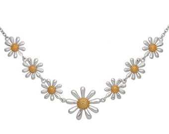 Silver Daisy Necklace, 925 Sterling Silver with 18ct Gold Plated Centres - Adjustable Length.