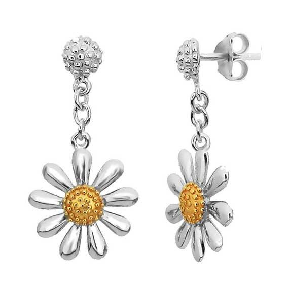 Gold Daisy Drop Earrings