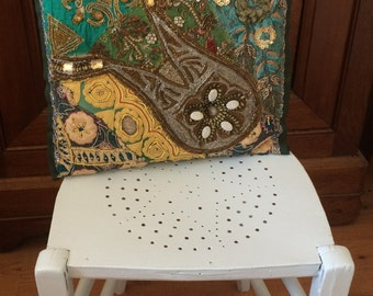 Vintage Hand Painted Blue Chair