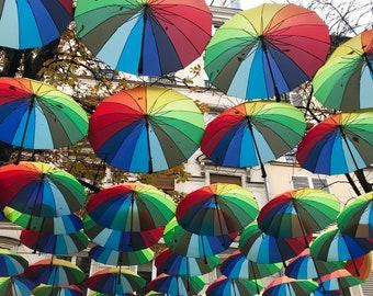 Paris Art Print, Paris Photography, Rainbow Umbrellas in the Marais, Autumn in Paris