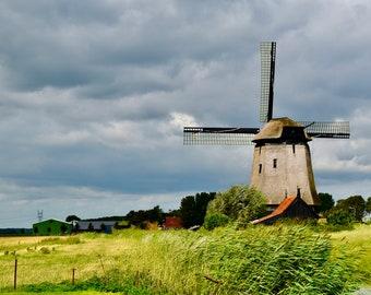 Amsterdam Art Print, Amsterdam Photography, Windmill near Amsterdam, Netherlands