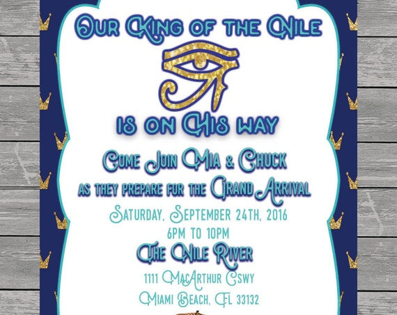 King of the Nile Baby Shower Invitation printable, eye of horus, egypt, spinx