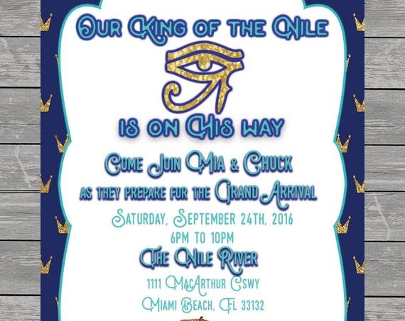 King of the Nile Baby Shower Invitation printable, eye of horus, egypt, spinx