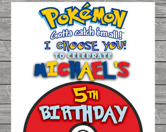 Pokemon Go Birthday Invitation - Pokemon  Invite - Printable - Digital Invitations