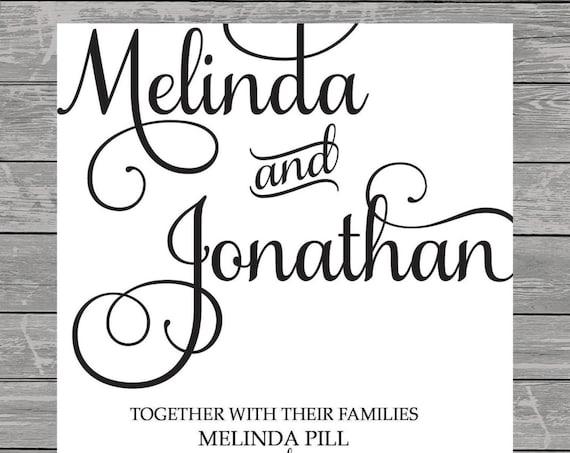Luxury elegant Script Lettering Formal Wedding Elopement Tie the Knot Invitation printable digital