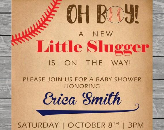 Baby Shower Invitation printable, Baseball, Football, Sports Invite