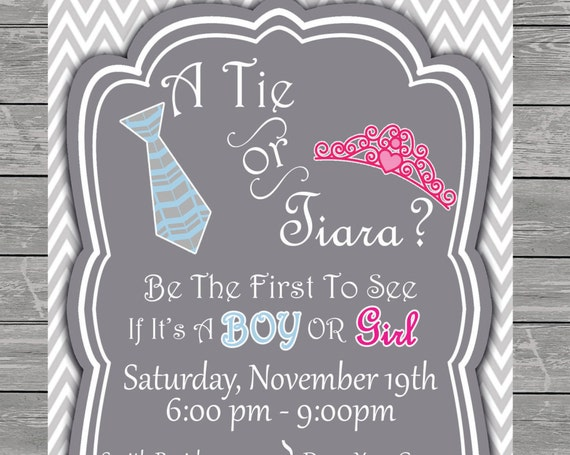 Tie or Tiara Gender Reveal Baby Shower Invitation printable