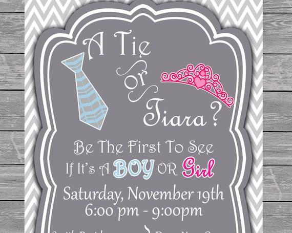 Tie or Tiara Gender Reveal Baby Shower Invitation printable