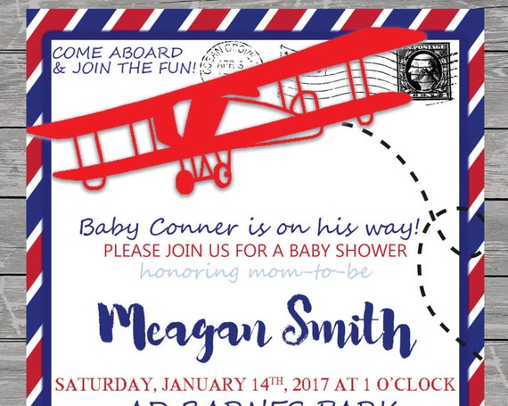 Baby Boy Airplane Cargo Vintage Baby Shower Invitation printable