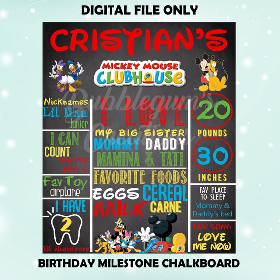 Mickey Mouse Club House Birthday Milestone 1st Birthday Chalkboard Digital File Only