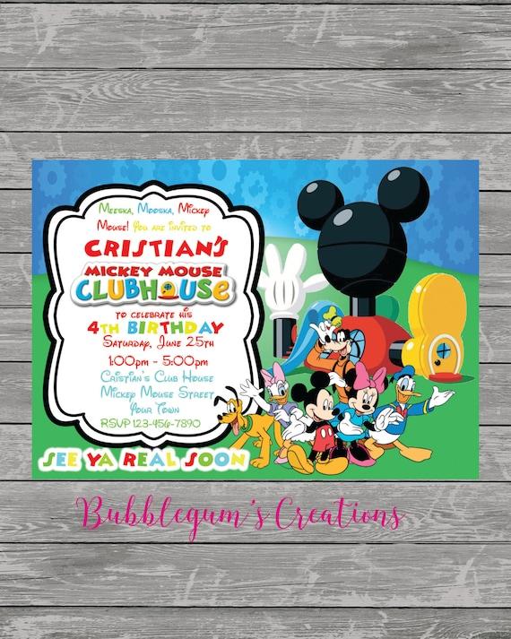 Mickey Mouse Birthday Invitation - Mickey Mouse Club House Invite - Printable - Digital Invitations