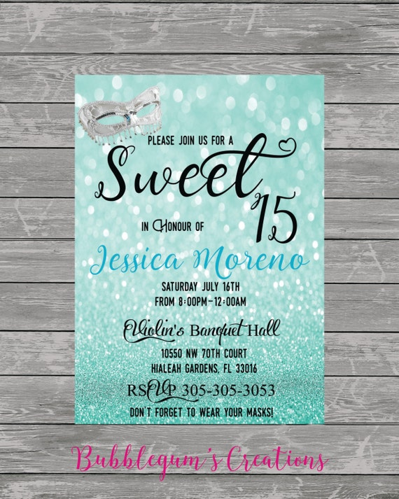 sweet 15, sweet 16, quinces invitation, quinceanera invite, masquerade party, mask invite, costume party invite, wedding invite