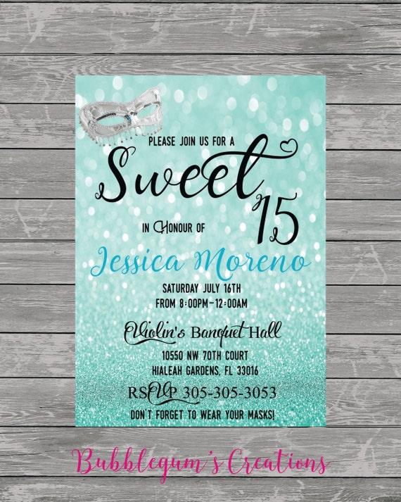 sweet 15, sweet 16, quinces invitation, quinceanera invite, masquerade party, mask invite, costume party invite, wedding invite