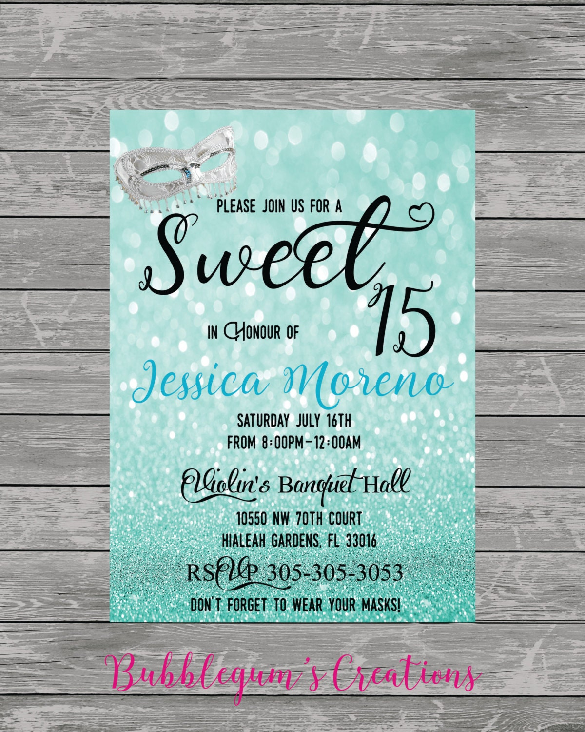 Sweet 15 16 Quinces Invitation Quinceanera Invite