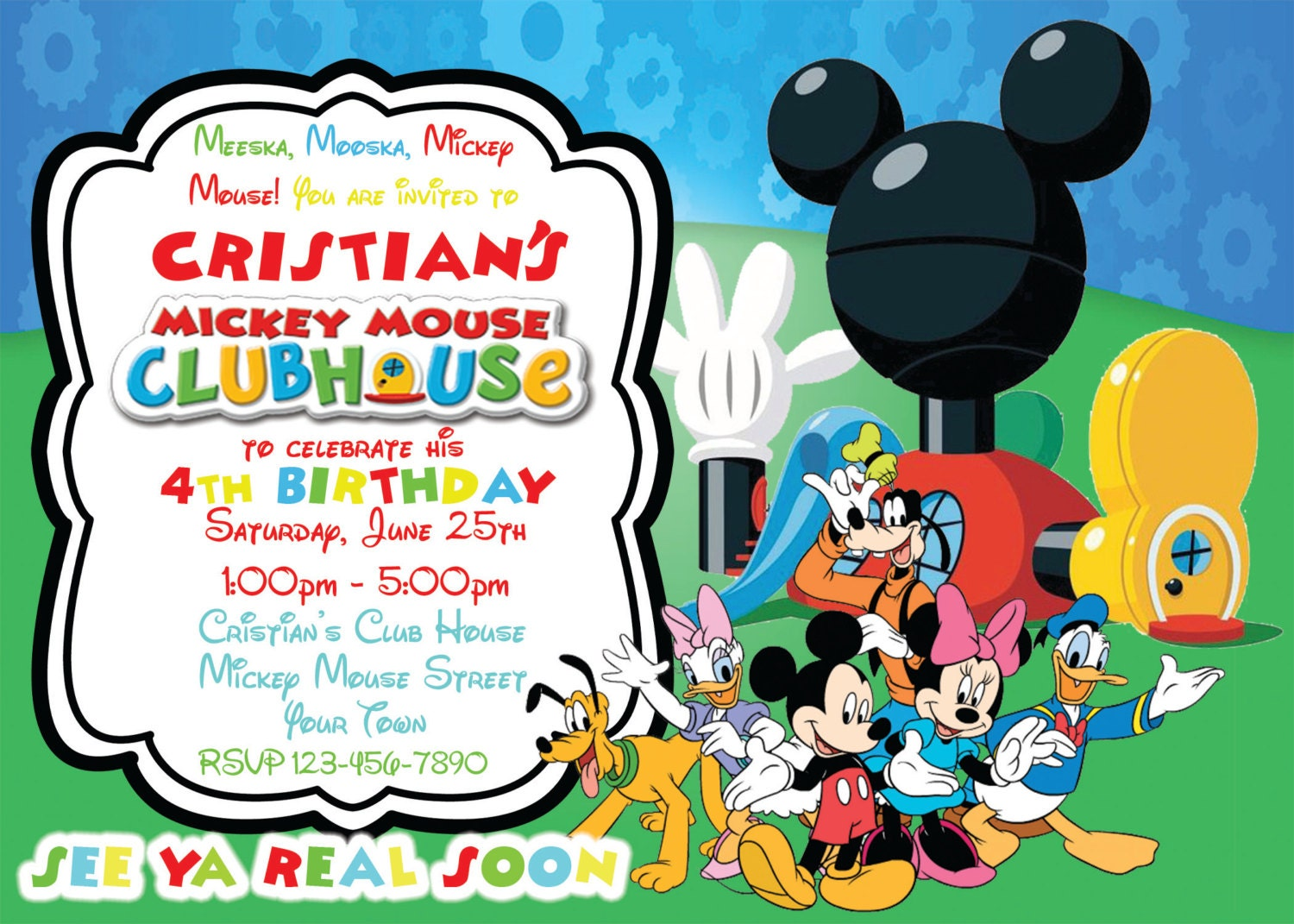 Mickey PHOTO invite for Mickey Birthday Mickey Mouse Clubhouse Party Personalized Mickey Invitation Digital file