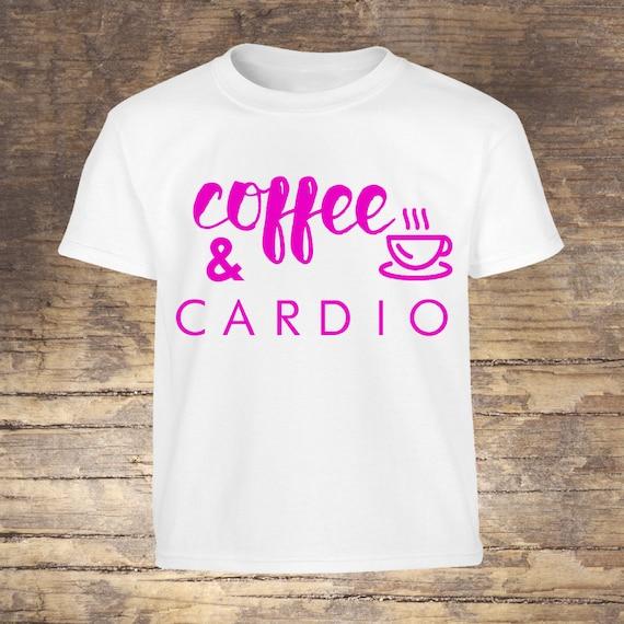 Unisex Coffee & Cardio Workout Tee, Gym Clothing, Fitness Tshirt, Coffee Shirt, Crossfit Shirt