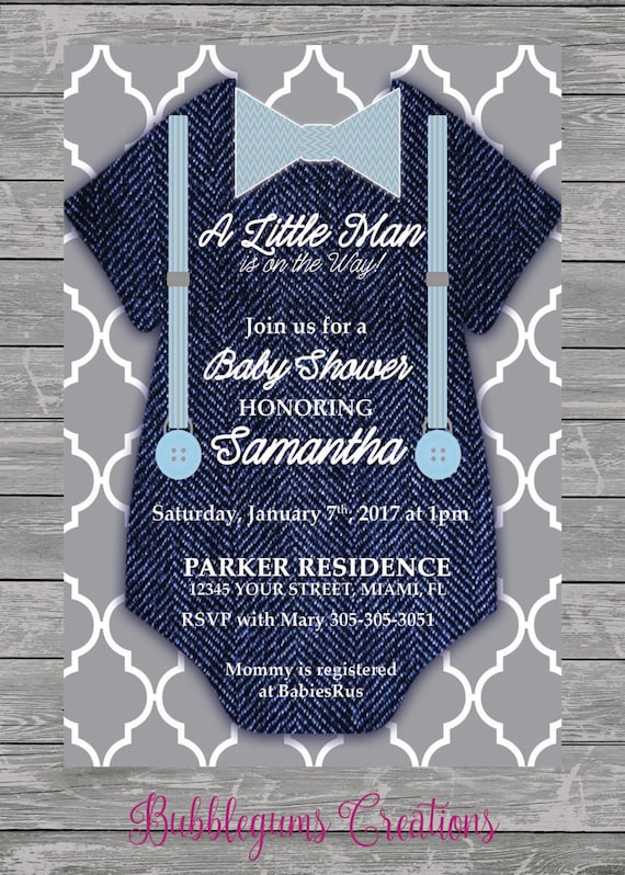Baby Boy Onesie Jean Baby Shower Invitation printable