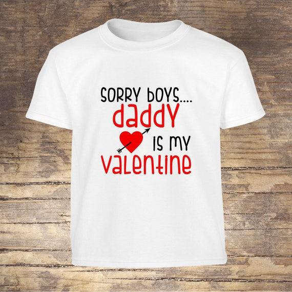 Valentine's Day Shirt Daddy is my valentine tshirt toddler kids boy girls shirts onesies