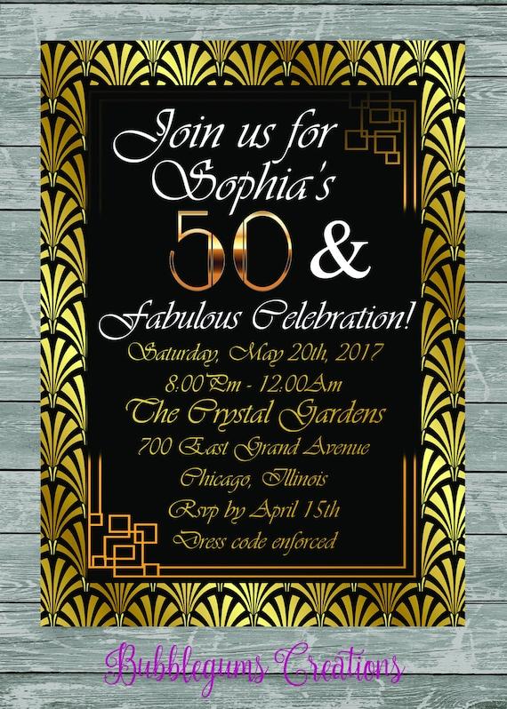 Digital File Great Gatspy Birthday Wedding Elopement Tie the Knot Invitation printable