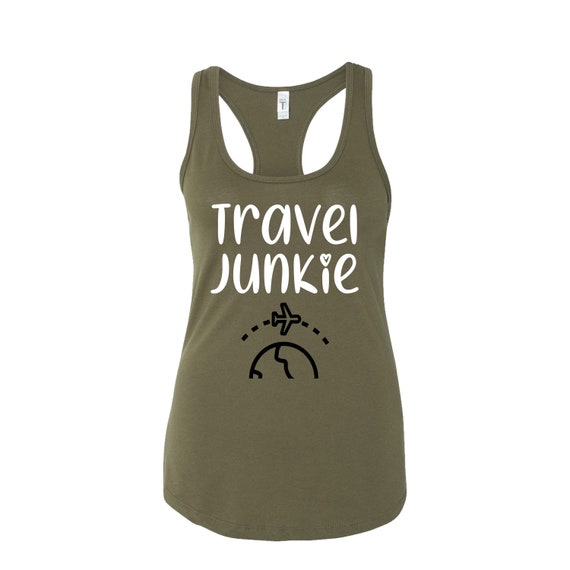 Travel Junkie women traveler tee tanktop shirt