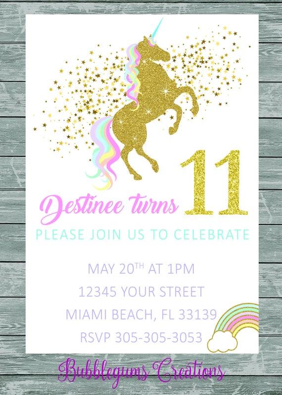 Rainbow Unicorn pink, purple, gold glitter, pastel, Birthday Invitation printable