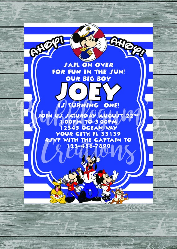 Mickey Mouse Birthday Invitation - Mickey Mouse Nautical Sailor Cruise Invite - Printable - Digital Invitations