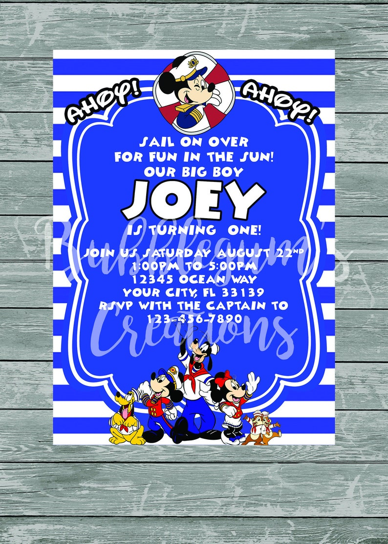 Mickey Mouse Birthday Invitation  Mickey Mouse Nautical image 0