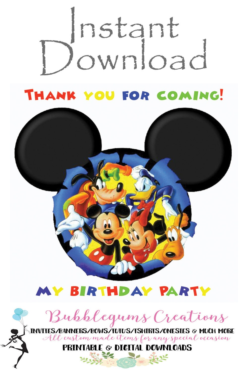 digital file mickey mouse thank you card mickey mouse club house