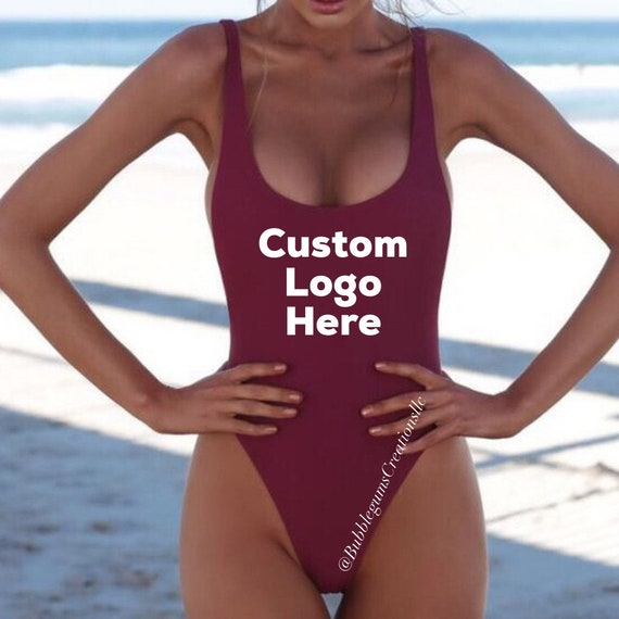 Woman's One Piece Bathing Suit Bridal Birthday Vacation Custom Swimwear Bikini Thong