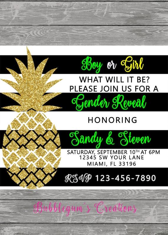 Pineapple sweet 15, sweet 16, quinces invitation, invite, bridal party, bridal shower invite, gender reveal invite, wedding invite