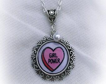 Girl Power Cute Feminist Necklace
